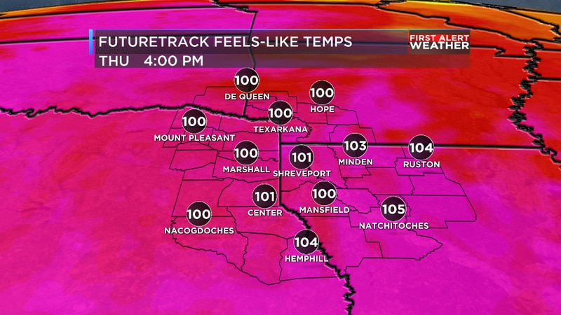 We are tracking rising heat and humidity for the ArkLaTex later this week.