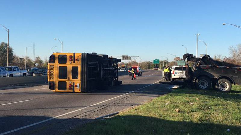 Nine students are injured, on is in serious condtion after a school bus crash on I-10 westbound...