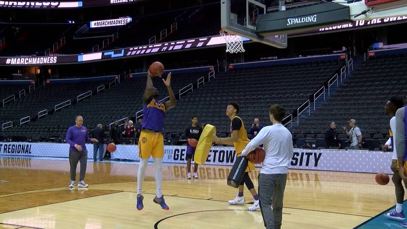 The LSU basketball team practices at Capital One Arena in Washington, DC on Thursday, Mar. 28,...
