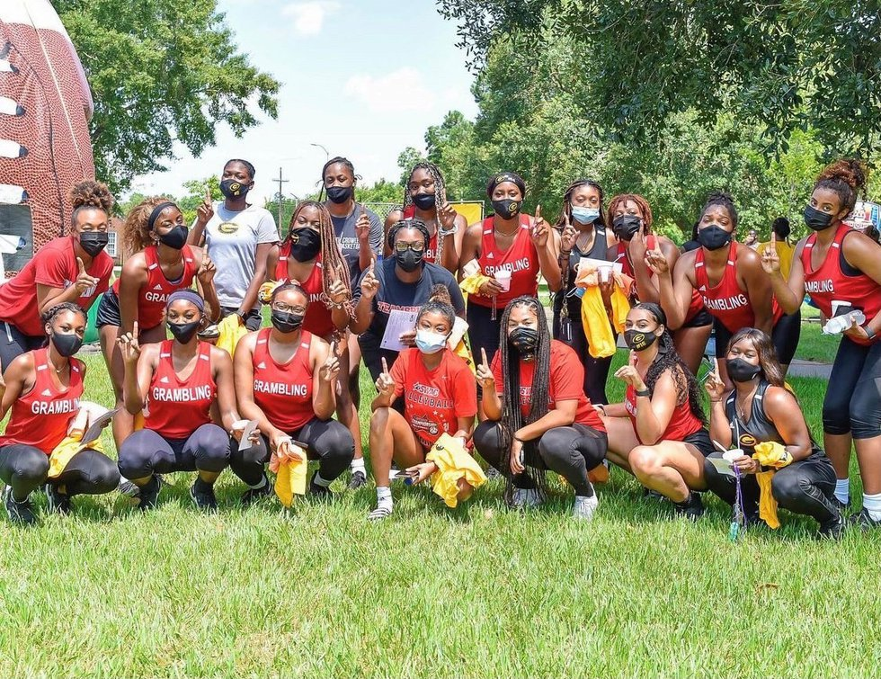 Grambling State University students pose for a photo.