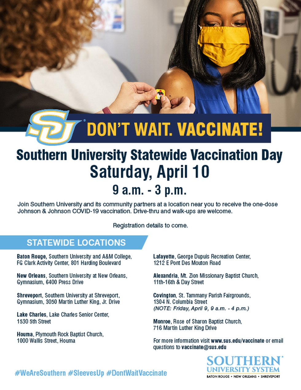 """Southern University is holding a statewide mass vaccination event as part of its """"Don't Wait...."""