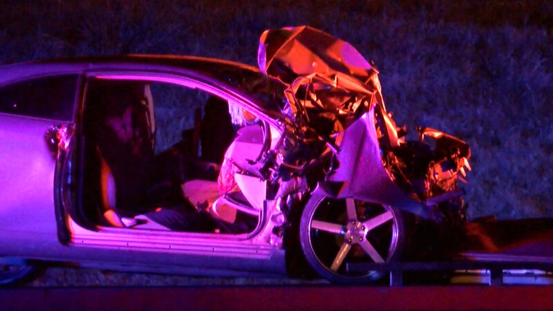 One of the cars involved in the accident on I-20