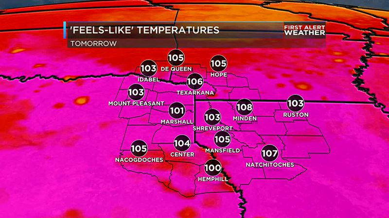 humidity will bring feels like temperatures in the triple digits