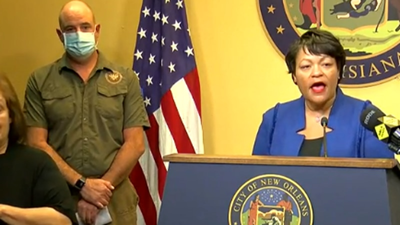 New Orleans Mayor LaToya Cantrell and several city leaders update preparations for Hurricane...