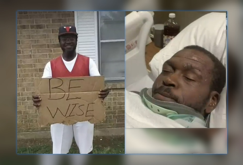Telly McCall, who liked to hold up signs with encouraging messages, lost his arm in a...