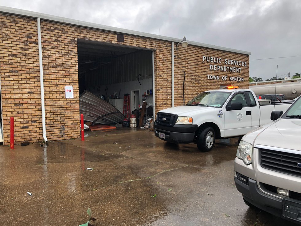 Our KSLA crew spotted damage in Benton at the Public Services Department.