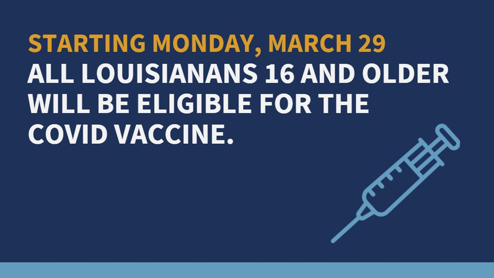 Gov. John Bel Edwards is opening vaccine eligibility to everyone 16 and older.