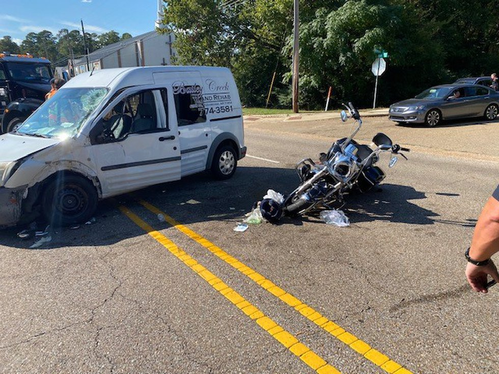 Three people were injured in a wreck involving a motorcycle and a van in Texarkana, Ark. on...