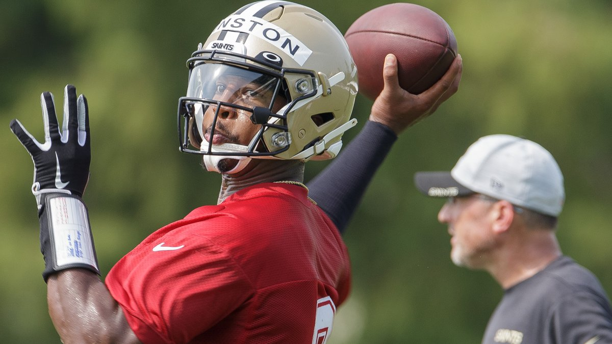 New Orleans Saints quarterback Jameis Winston (2) throws the ball during training camp at the...