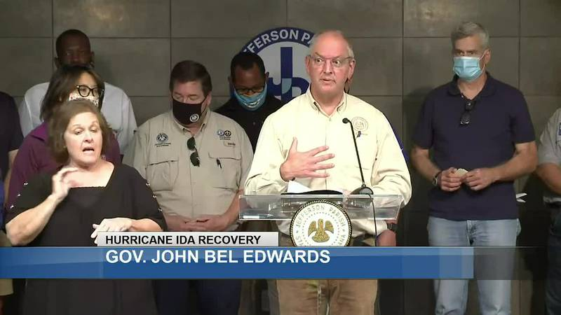 Gov. John Bel Edwards speaks at a news briefing in Jefferson Parish following Hurricane Ida.