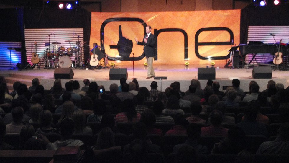 Republican presidential candidate Rick Santorum speaks to the congregation at Calvary Baptist...