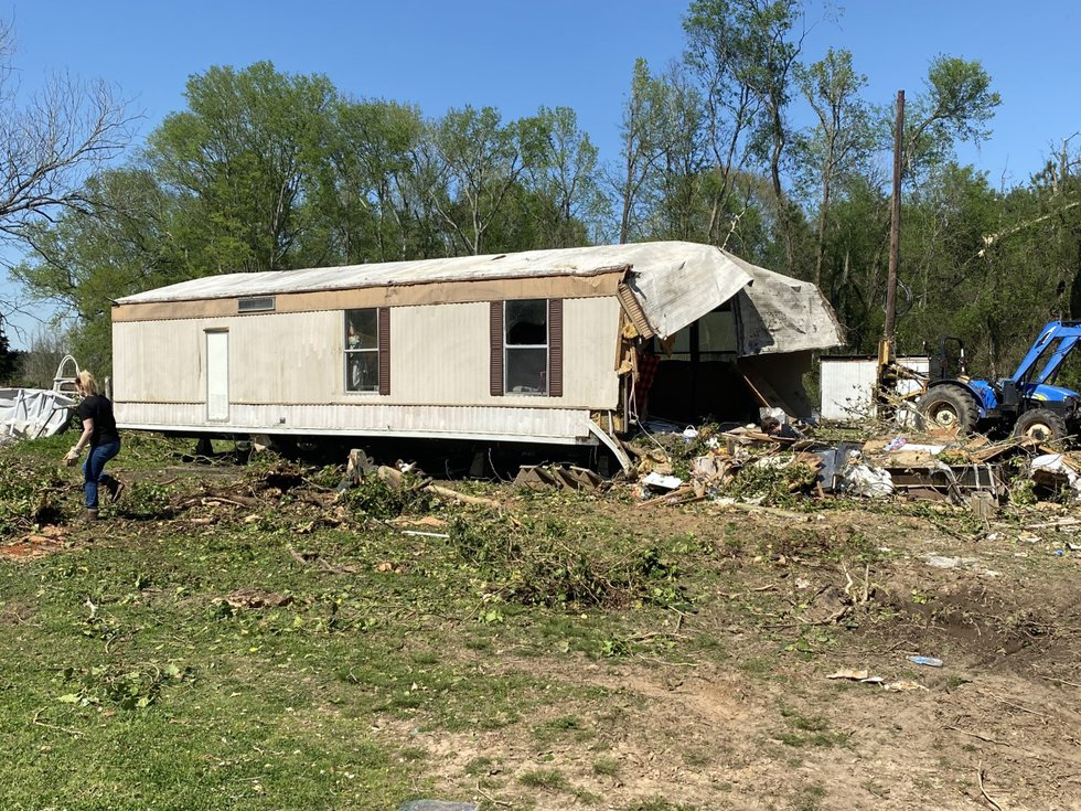 Damage left from storms March 28, 2021, in the 800 block of Panola County Road 445 at Carthage,...