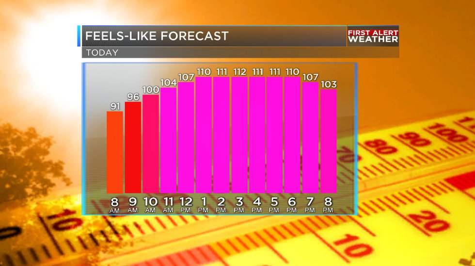 Feels-like temperatures could exceed 110.