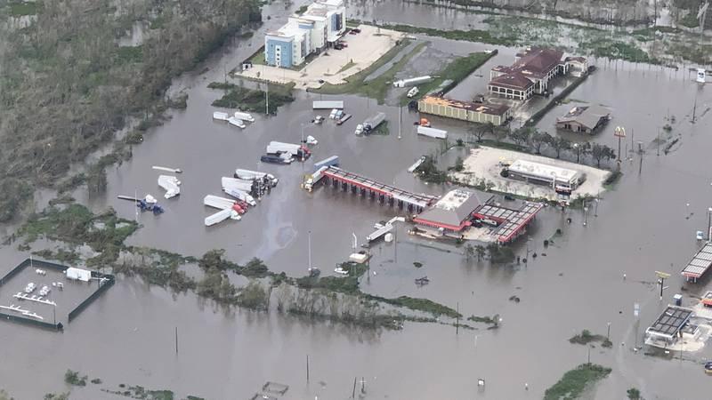 Senator Bill Cassidy toured damage left behind by Hurricane Ida on Monday, Aug. 30, 2021. The...