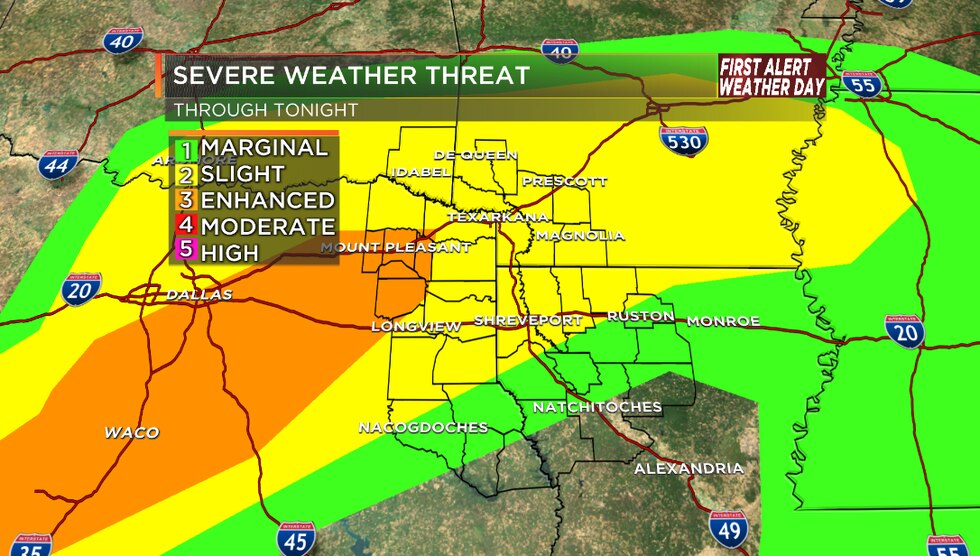 Severe weather is possible for parts of the ArkLaTex Wednesday night