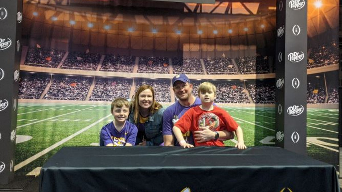 The Reed family enjoys Playoff Fan Central at the Morial Convention Center in New Orleans ahead...