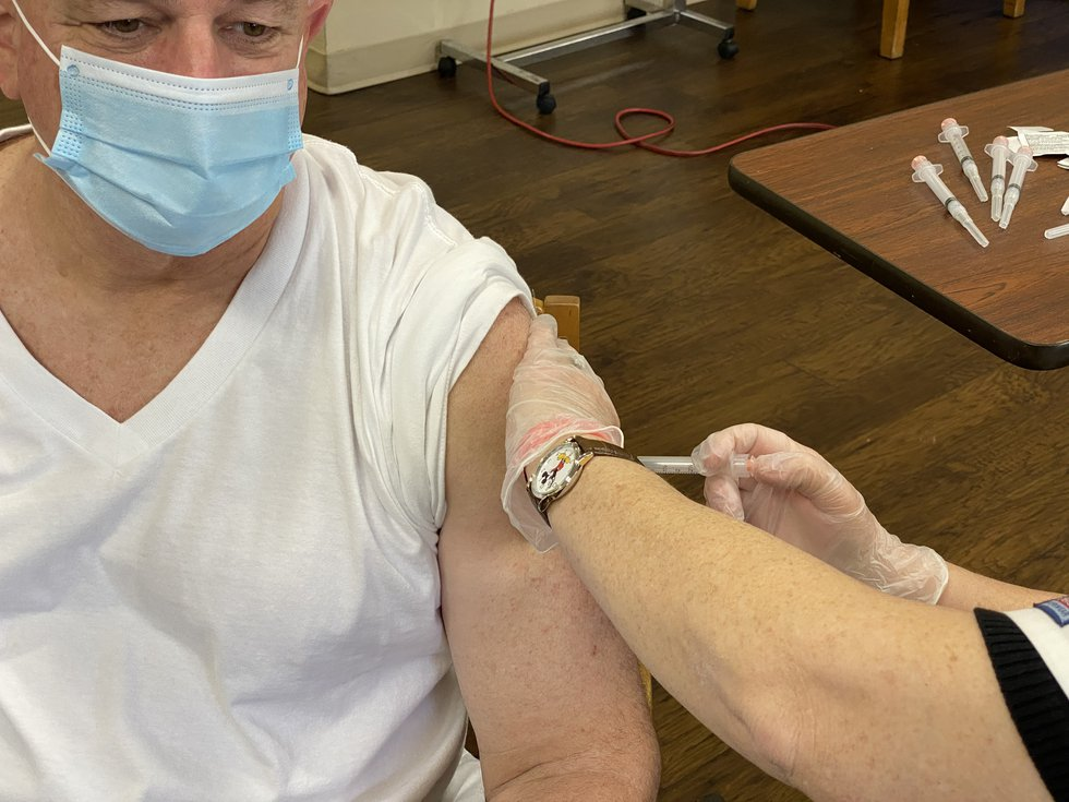 Staff members at the Health Center at Live Oak in Shreveport received the first dose of...