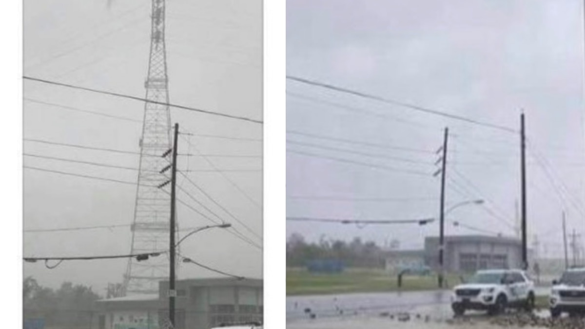 A major electrical transmission tower in Jefferson Parish collapsed in the intense winds of...