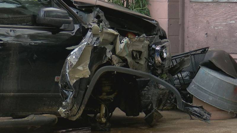 Police say this pickup caught fire with its driver inside the evening of Oct. 21, 2021, after...