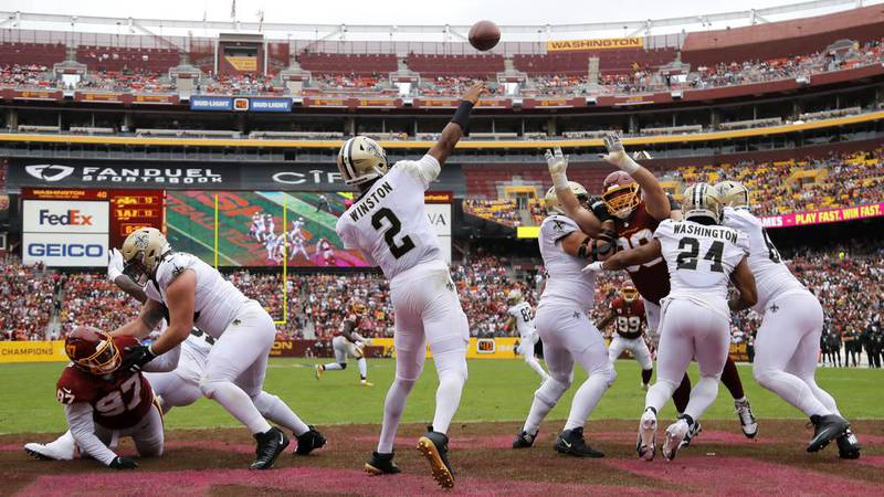 New Orleans Saints quarterback Jameis Winston (2) finished with four touchdowns Sunday. (AP...