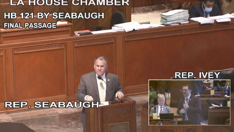 Louisiana state Rep. Alan Seabaugh fields questions during House floor debate May 18, 2021, on...