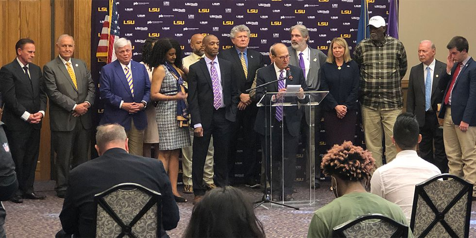 Dr. William Tate IV is introduced as the new LSU president.
