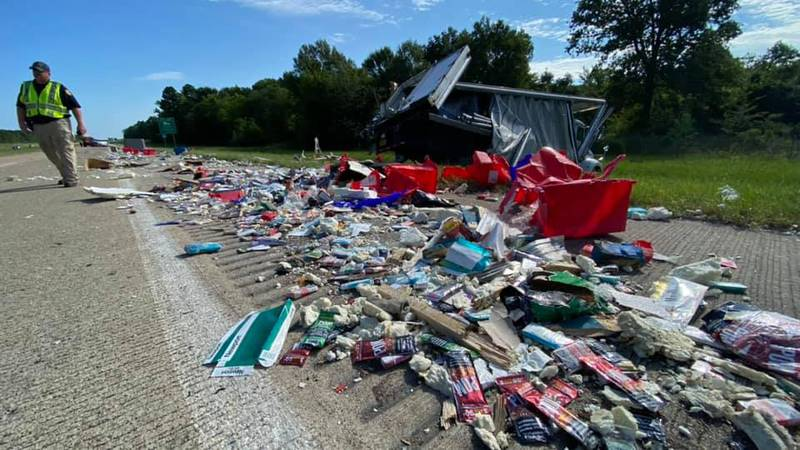An 18-wheeler spilled its contents on I-49 N in Caddo Parish on Friday, July 23, 2021.