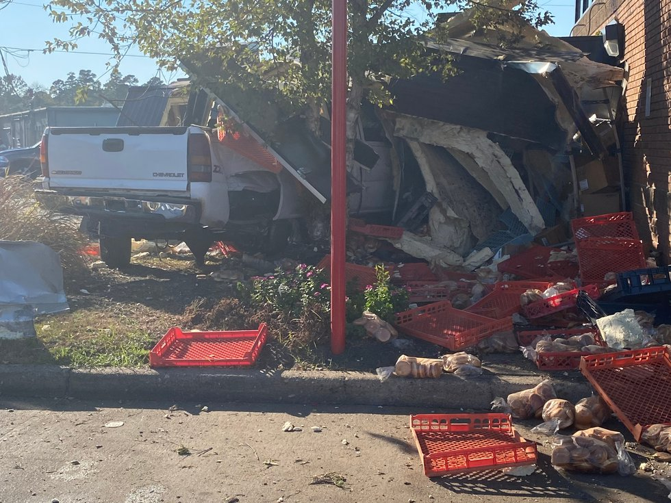 A truck smashed into the side of a Wendy's in Shreveport on Sunday, Sept. 26, 2021.