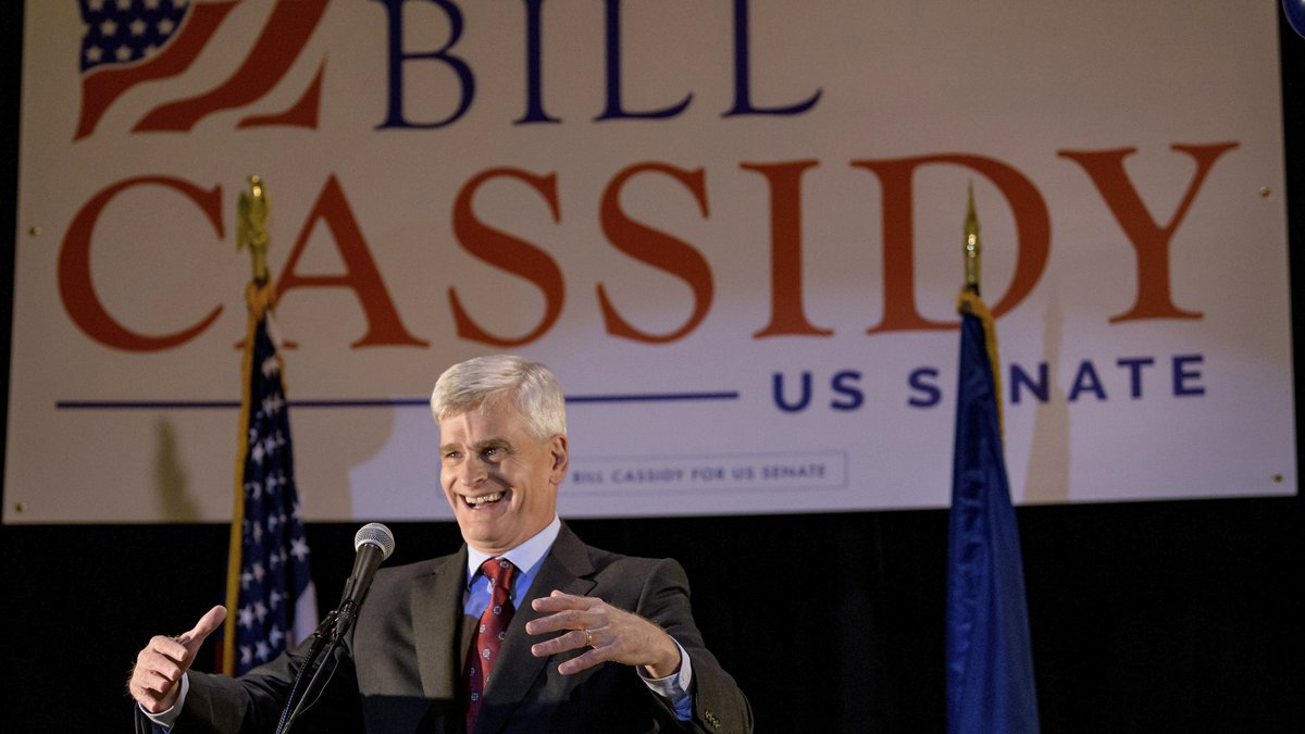 Sen. Bill Cassidy, R-La., addresses supporters at his election watch party on Election Night in...