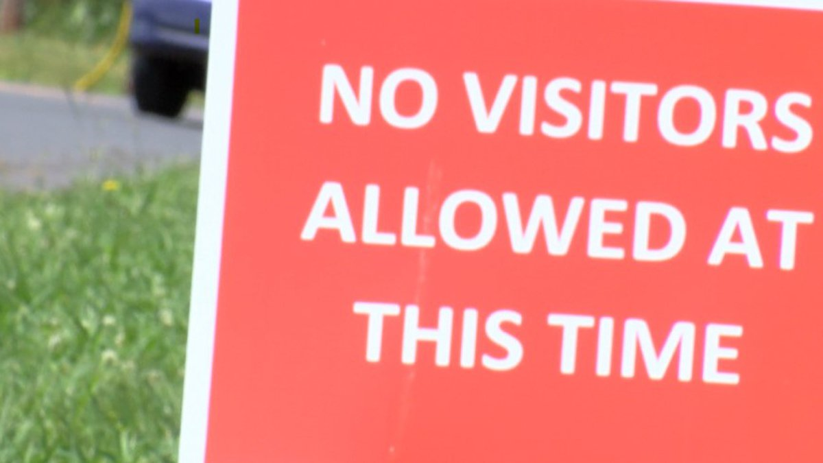 A No Visitors sign posted outside a Northwest Louisiana nursing home.