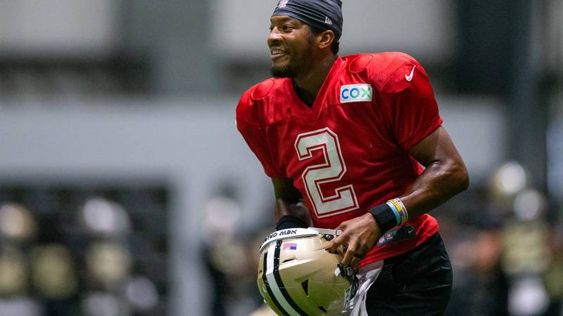 New Orleans Saints quarterback Jameis Winston (2) during an NFL football training camp practice...