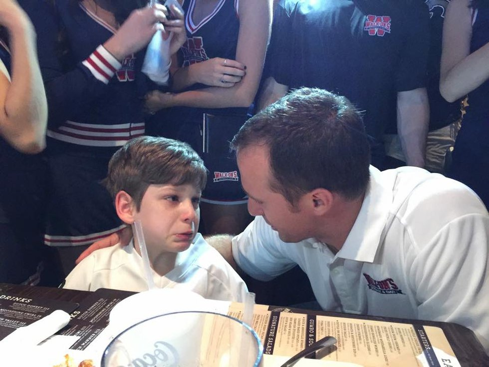 Hunter's hero, New Orleans Saints quarterback Drew Brees took time out during his visit at...
