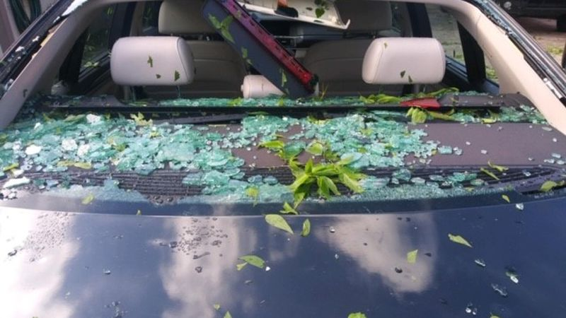 Hail damage from North Bossier