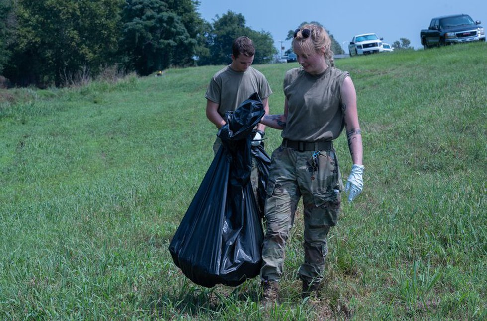 Airmen from the 2nd Bomb Wing participate in Bayou Clean-up at Barksdale Air Force Base,...