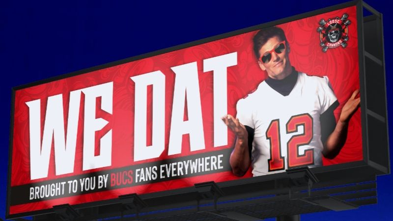"""Bucs fans have created a GoFundMe account claiming to raise funds for a """"We Dat"""" billboard in..."""