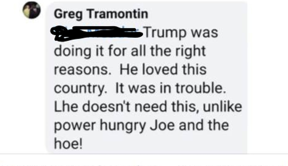 """Greg Tramontin appears to have referred to Vice president-elect Kamala Harris as a """"hoe"""" in the..."""