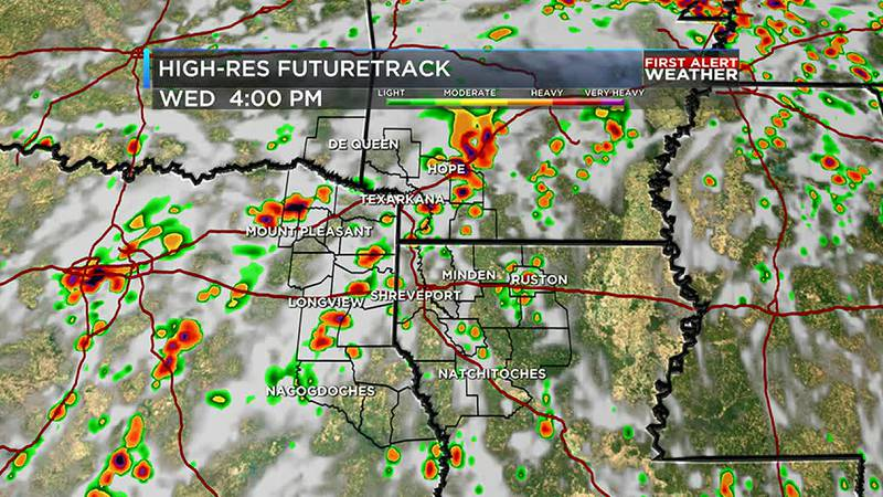 Wednesday afternoon will have more rain and storms
