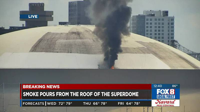 LIVE: Superdome roof catches fire