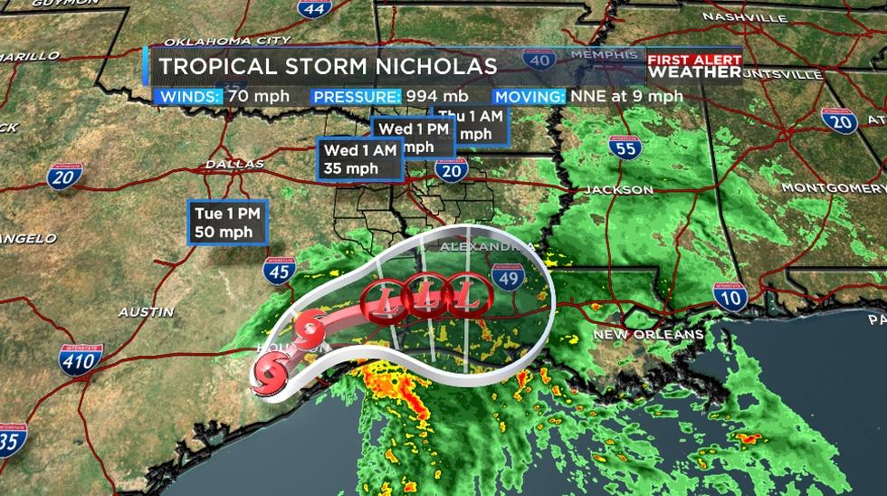Nicholas made landfall as a minimal hurricane southwest of Houston, Texas.