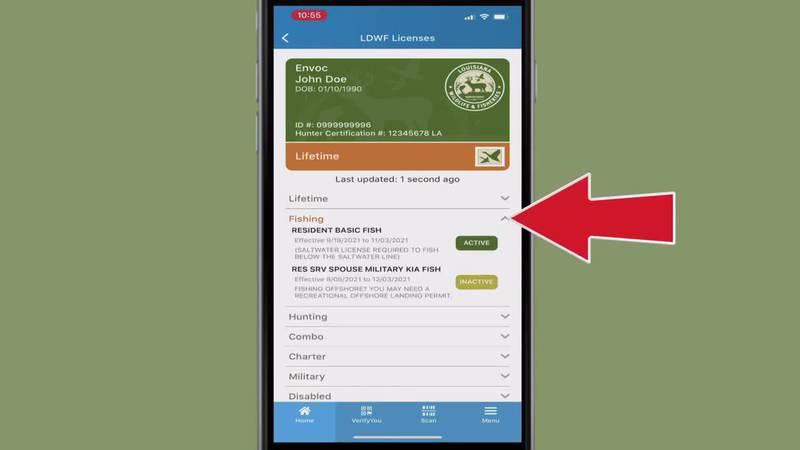 LA Wallet hunting and fishing licenses