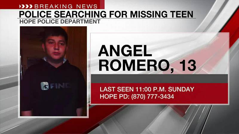 Hope, Arkansas, police ask for help finding 13-year-old Angel Romero