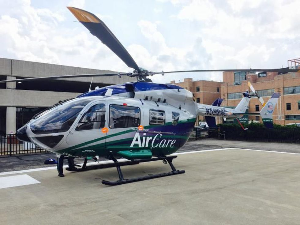 Metro Aviation displays an EC145e at the Air Medical Transport Conference held Oct. 16....