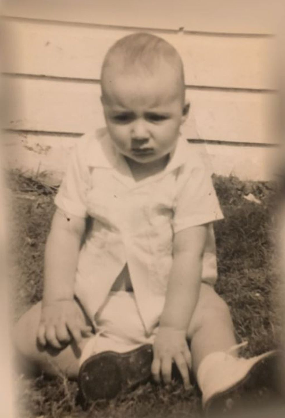 Photo of LSU football Coach Ed Orgeron as a baby in the early 1960s.