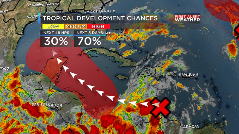 A tropical wave currently moving through the Caribbean is now likely to become a tropical...
