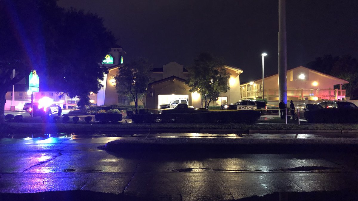 A large police presence is seen at a Bossier City hotel on Friday.