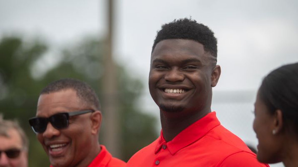 Number one NBA draft pick Zion Williamson participates in the dedication of a basketball court...