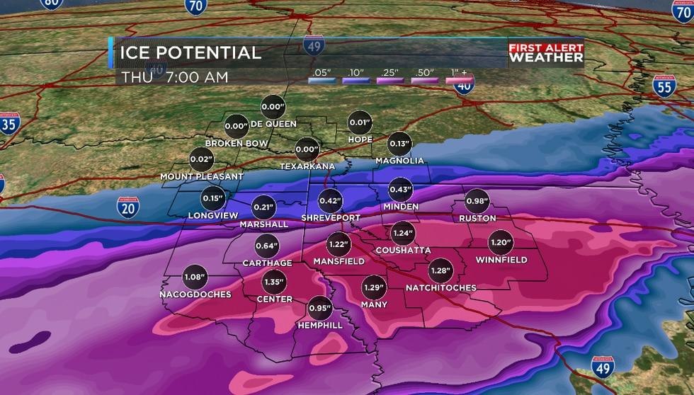 Ice potential through Thursday