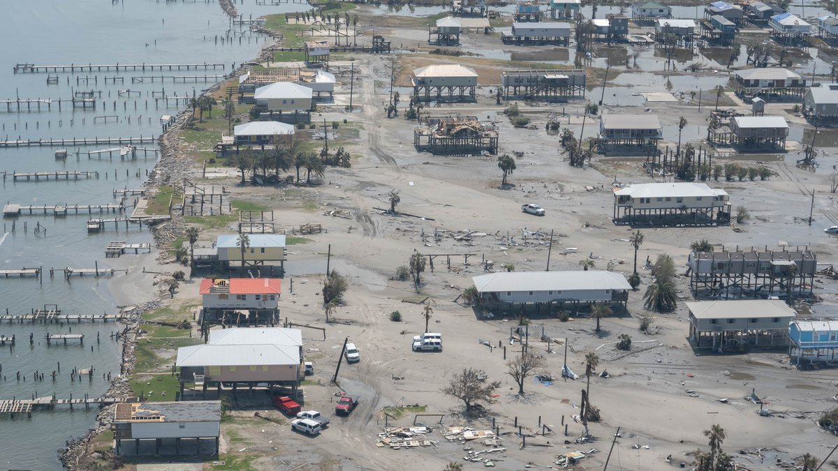 A view of the damage caused by Hurricane Ida to Grand Isle five days after it hit, Grand Isle,...