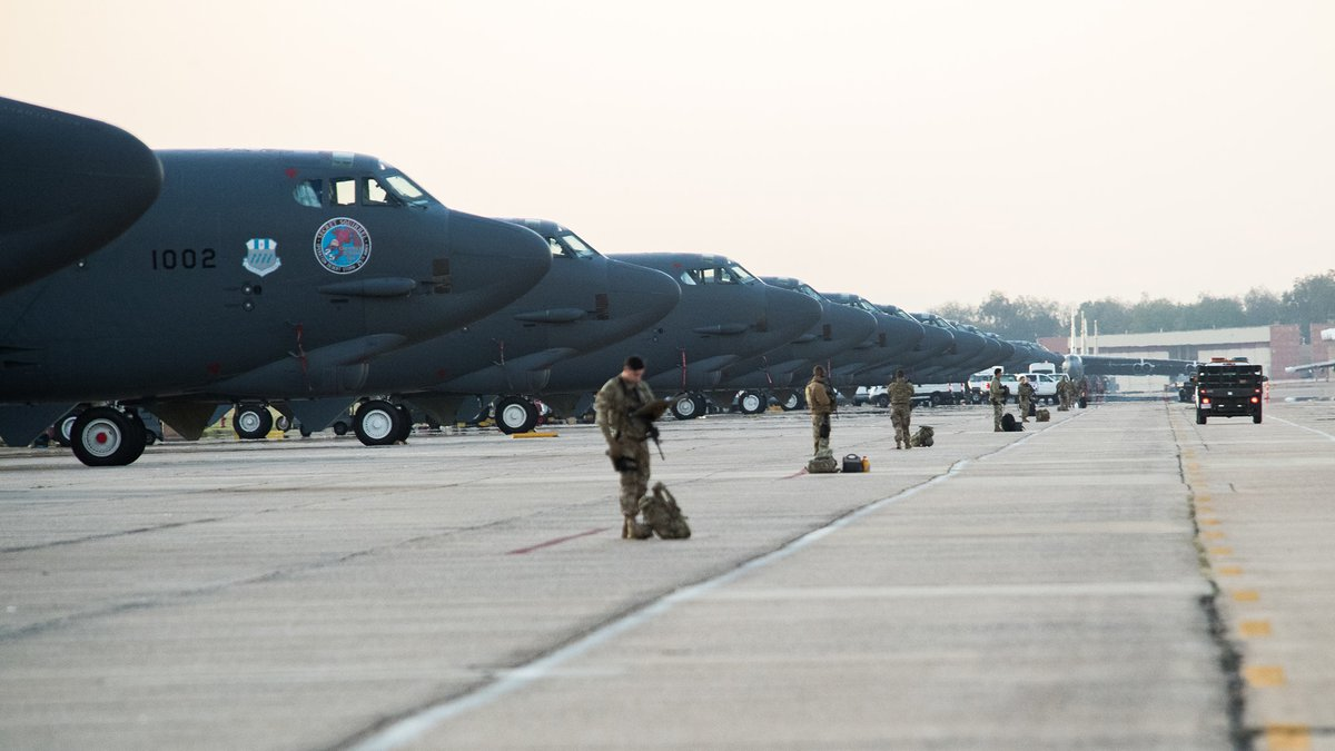 Barksdale Air Force Base uploaded this photo of B-52 bombers to its Facebook page Monday.