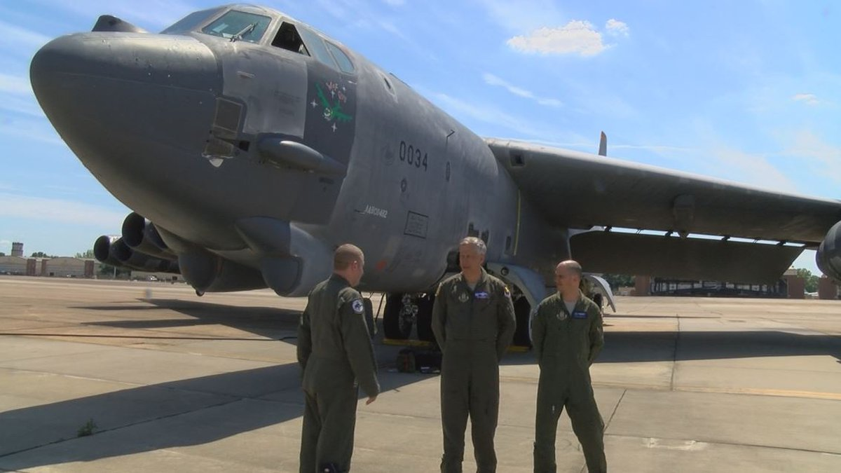 """The previously decommissioned B-52 Stratofortress nicknamed """"Wise Guy"""" arrived at Barksdale Air..."""